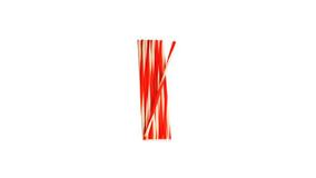 Sugerør  Ø 7 x 245 mm u/ knæk - Hvid/Rødstribet