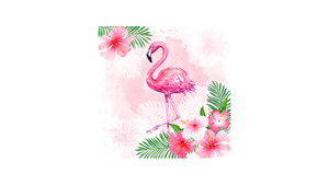 Watercolour Flamingo with Hibiscus Flowers