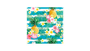 Tropical Flowers and Pineapples on Stripes