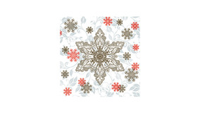 Gold & Red Ornate Snowflakes